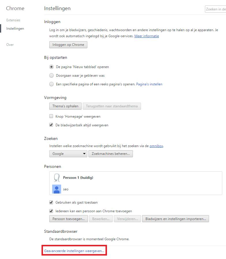 Google Chrome Geavanceerde Instellingen