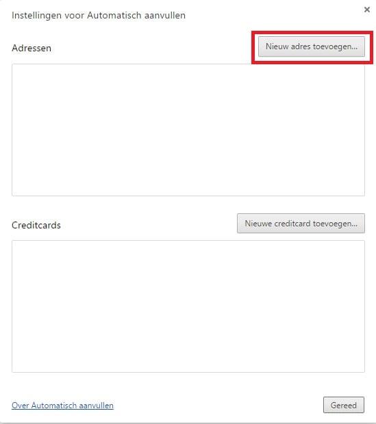 Google Chrome autofill nieuw adres aanmaken