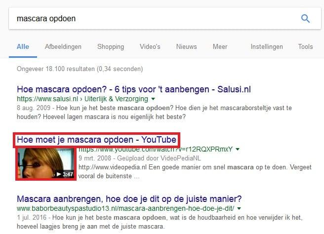 Google Videa SERPS titel en thumbnail voorbeeld
