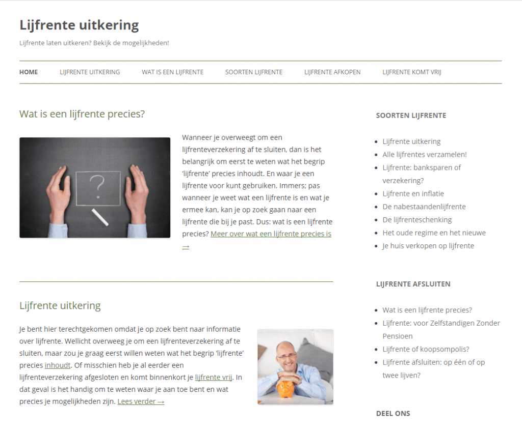 Lijfrenteuitkering.net screenshot