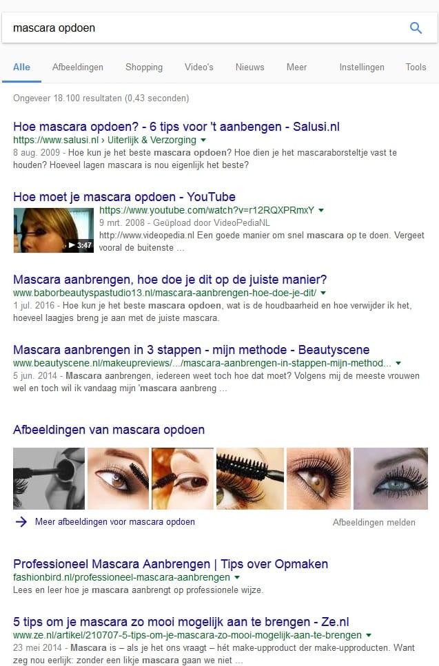 Mascara opdoen voorbeeld