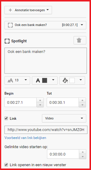 YouTube Aantekeningen Ballon Nieuwe video externe link