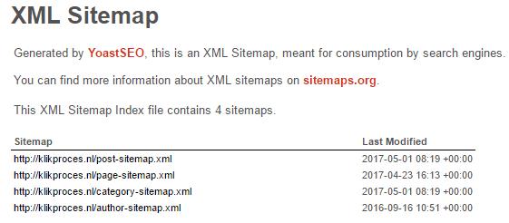 XML sitemap voorbeeld Klik Proces