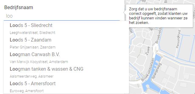 Google Mijn Bedrijf contactgegevens suggesties