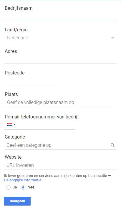 Google Mijn Bedrijf contactgegevens