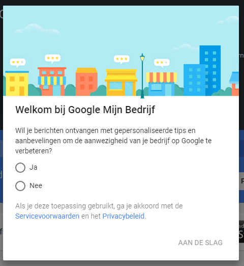 Google Mijn Bedrijf ondersteuning nodig melding