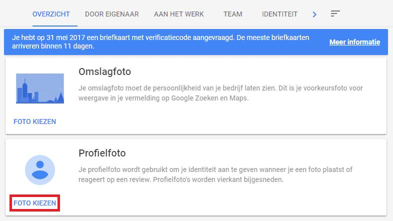 Google Mijn Bedrijf profielfoto toevoegen 2