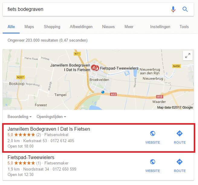 Google maps voorbeeld GMB