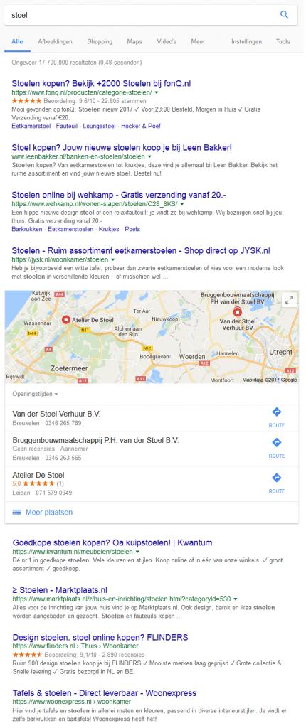 Voorbeeld Google Mijn Bedrijf Lokale Maps stoel (kopen)