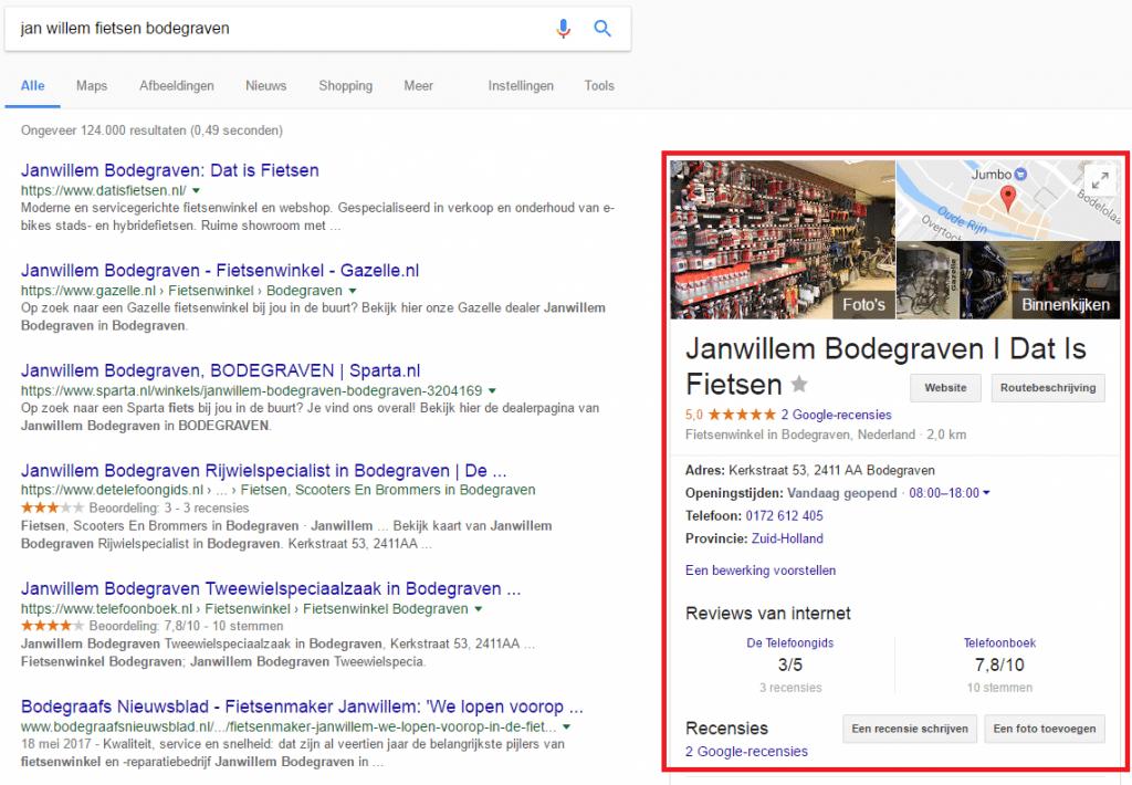 Voorbeeld Google Mijn Bedrijf Naam