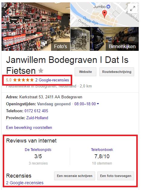 Voorbeeld Google Mijn Bedrijf Profiel recensies
