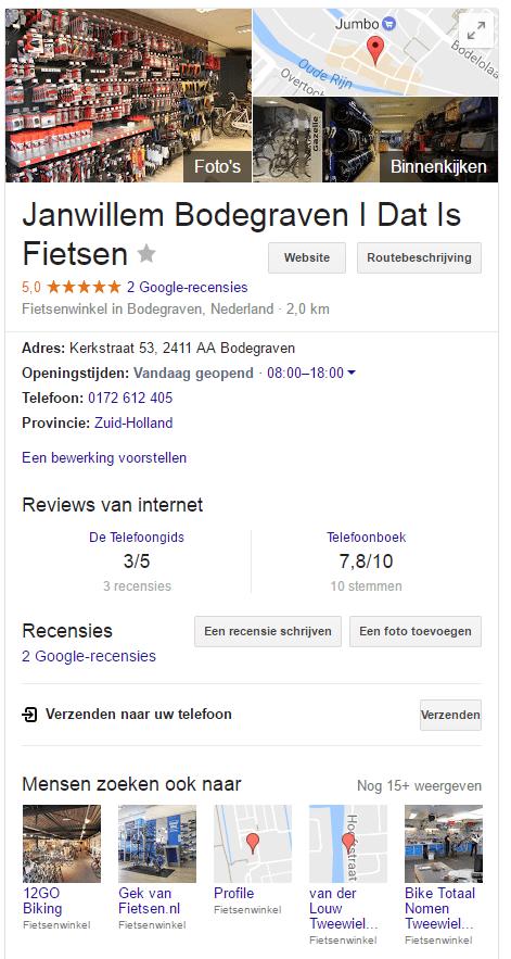 Voorbeeld Google Mijn Bedrijf Profiel