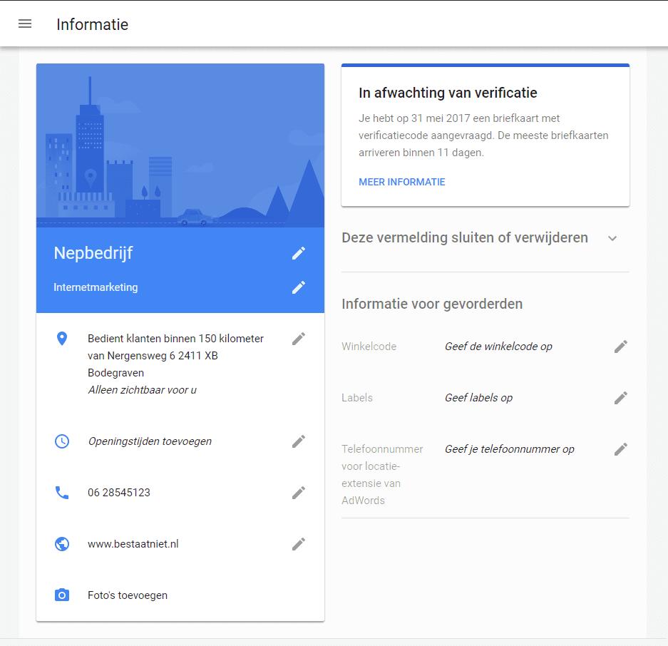 Voorbeeld Google Mijn Bedrijf bedrijfsinformatie bewerken 2