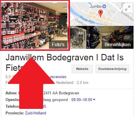 Voorbeeld Google Mijn Bedrijf profiel foto in Google