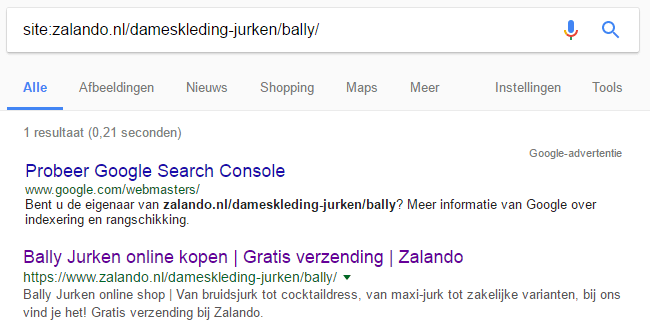 Google categorie site search