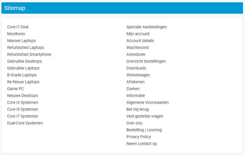 Voorbeeld On-site Sitemap