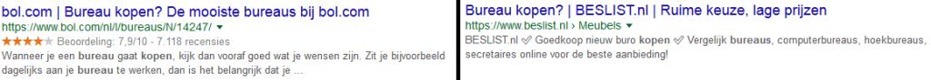 Voorbeeld Opvallendse SERPS door Grotere zoekresultaten, extra regel