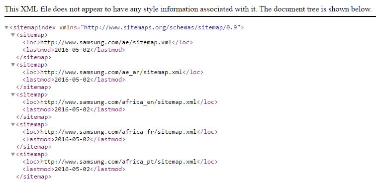 Voorbeeld XML sitemap Samsung
