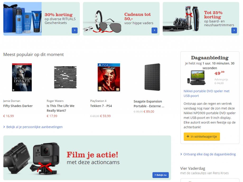 Voorbeeld bol.com homepage linken