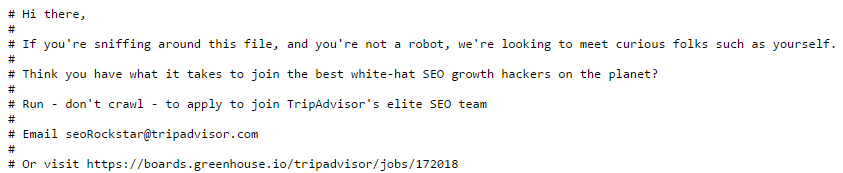 Voorbeeld robots.txt Tripadvisor
