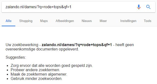 Zalando dames tops rood zoekresultaat voorbeeld