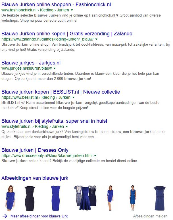 voorbeeld afbeeldingen in Google blauwe jurk