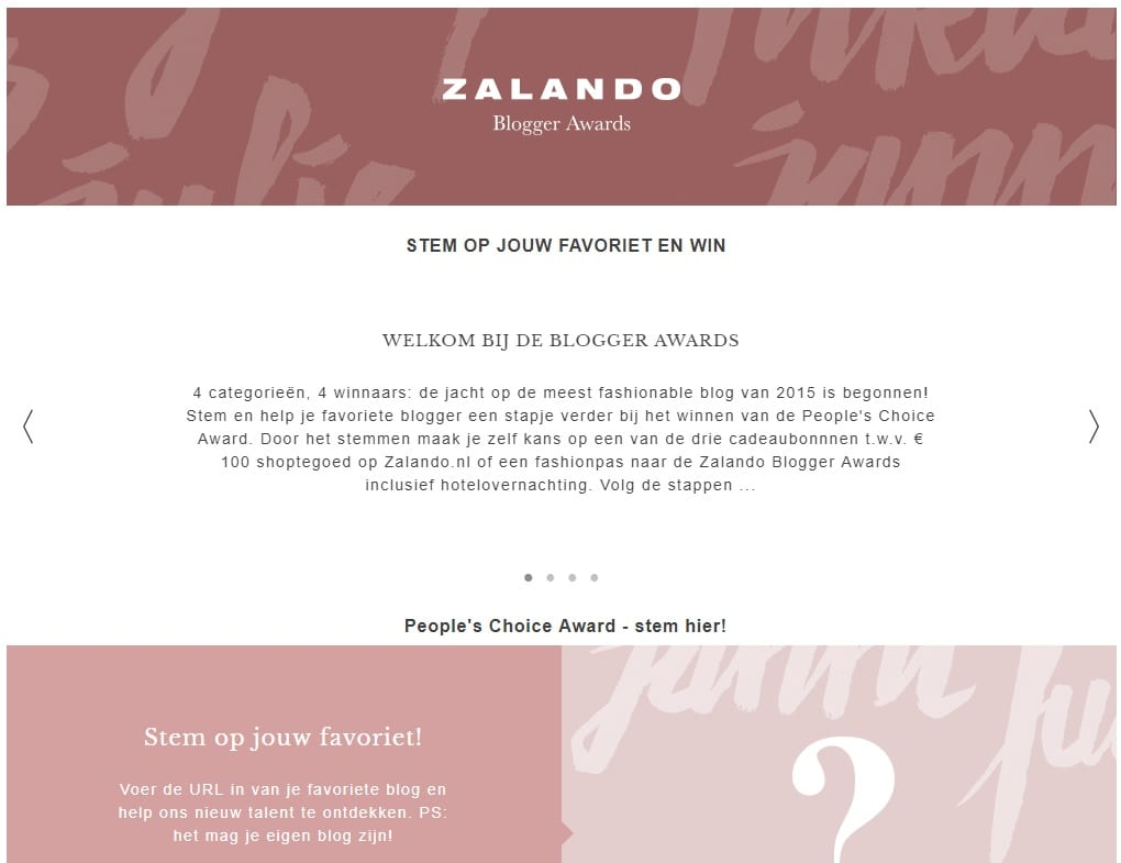 Zalando blog wedstrijd 2015 voorbeeld