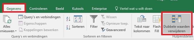 Excel dubbele waarden verwijderen