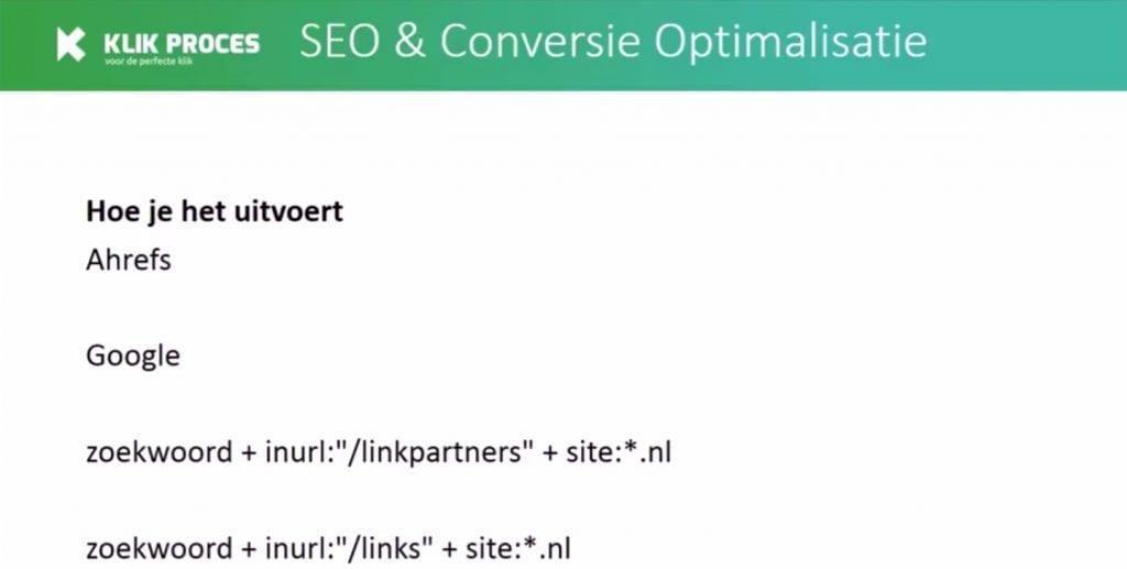 Google linkpartner zoekopdrachten voorbeelden
