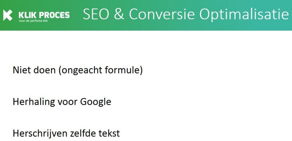 Niet doen bij bepalen van de lengte van de tekst - tekst herhalen voor Google en tekstlengte