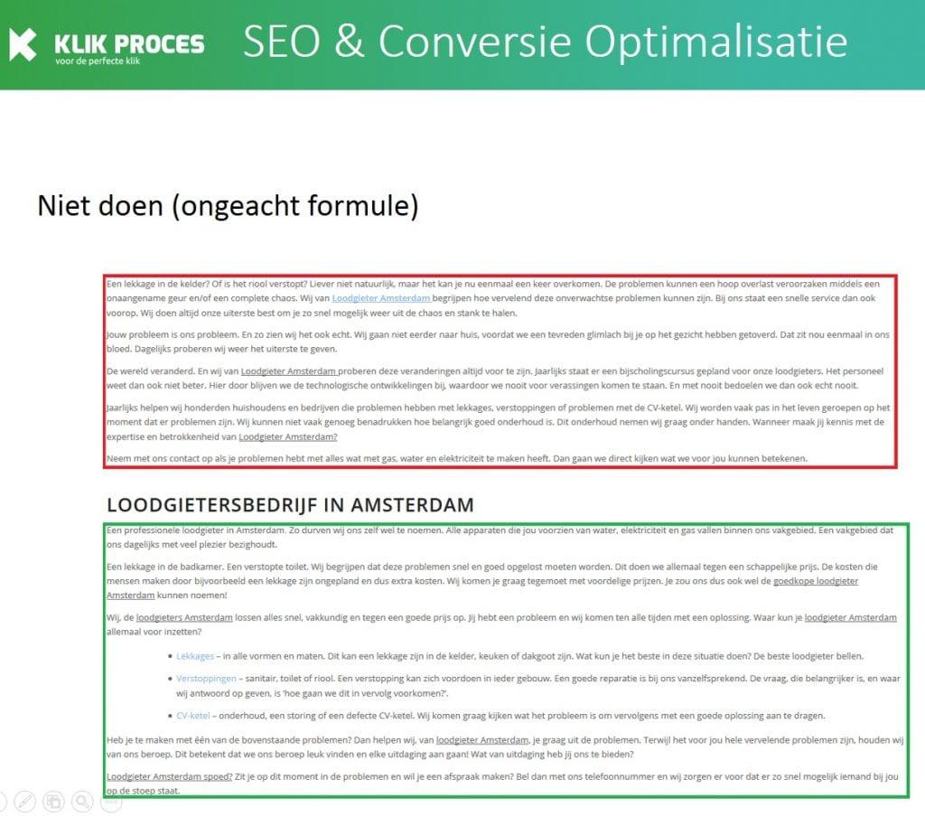 Niet doen bij bepalen van de lengte van de tekst - tekst herhalen voor Google en tekstlengte voorbeeld