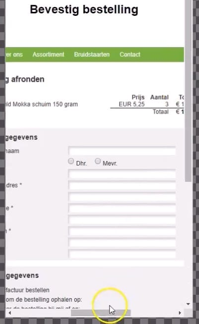 niet-responsive check-out proces