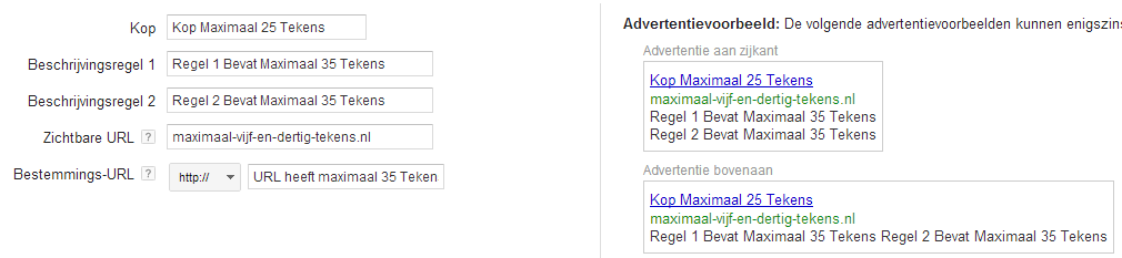 AdWords advertentie maximale tekens