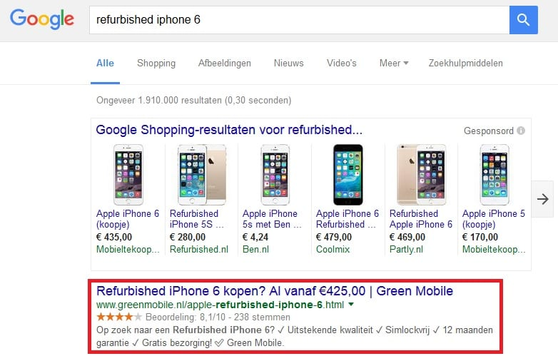 google-zoekresultaten-refurbished-iphone-6