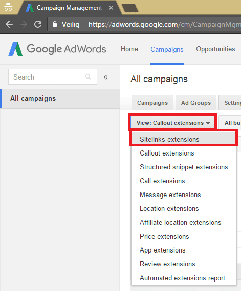 AdWords extensies sitelinks