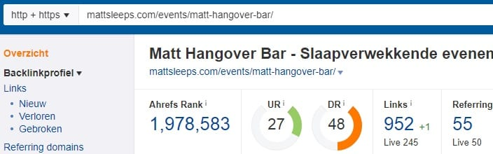 Matt Sleeps Voorbeeld backlinks