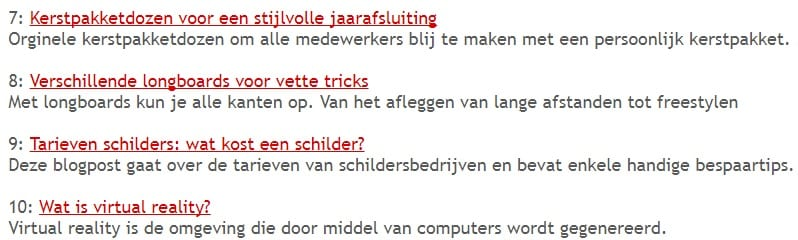 Voorbeelden titels op artikel marketing websites