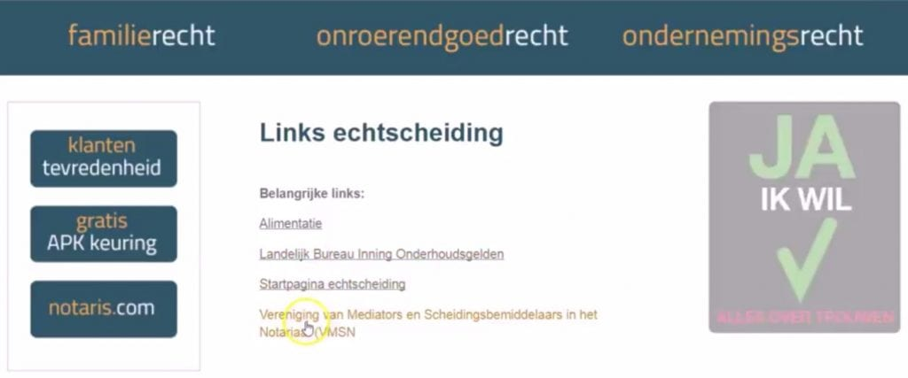 Vorbeeld legitieme linkpartner pagina