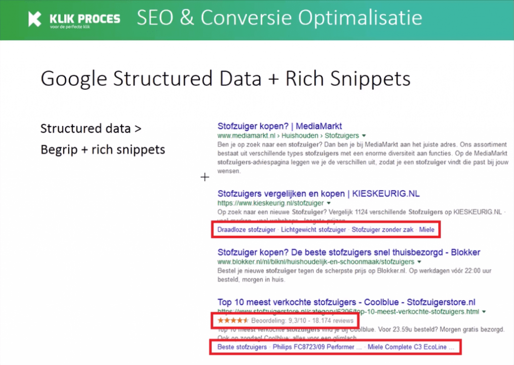 Google structured data, rich snippets Google